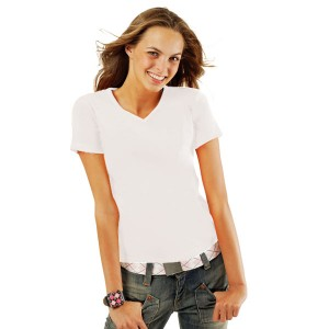 Lady V - Tee-Shirt Blanc pour femme col rond